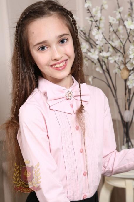 Блуза со съемным бантом розовая