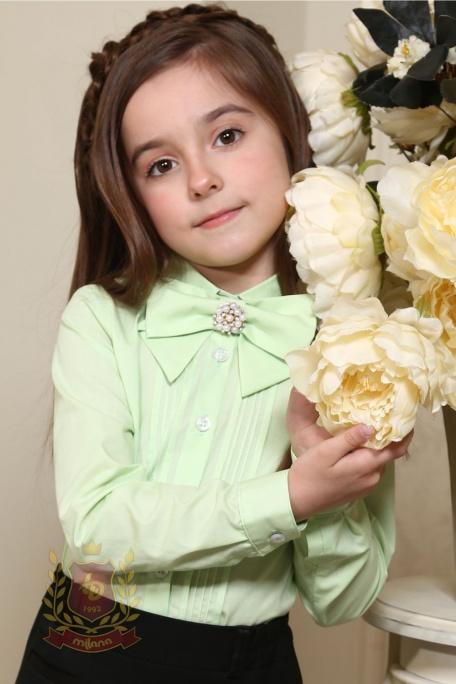 Блуза со съемным бантом салатовая