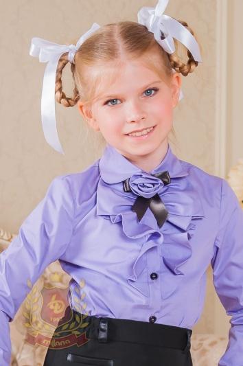 Блуза с длинным рукавом и «розочкой» сиреневая