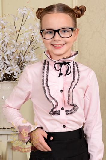 Блуза с двойным «жабо» и бархатным бантиком розовая