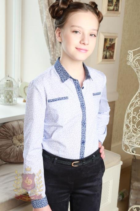 Блузка голубая в огурцы