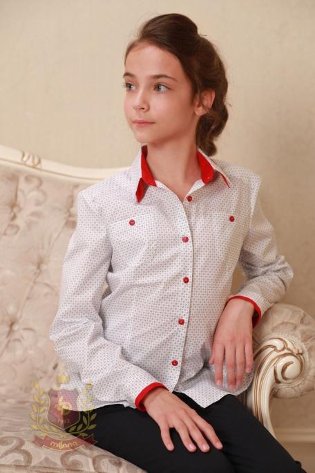 Блуза с красным воротником