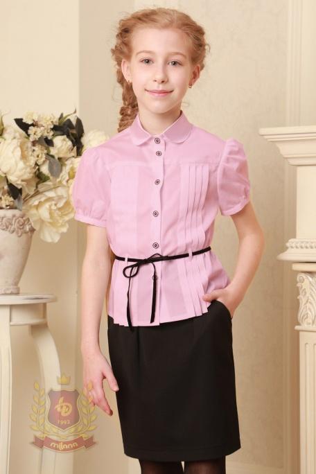 Блузка с бархатным пояском розовая
