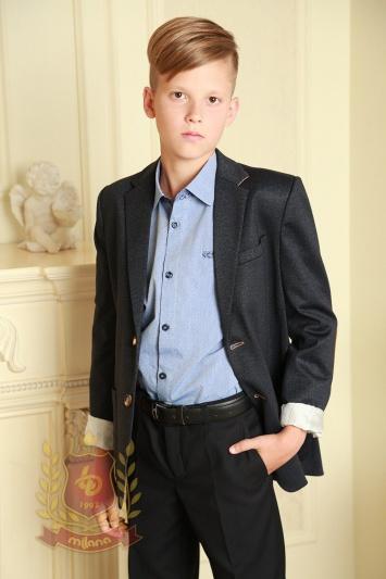 Пиджак с заплатками на локтях синий
