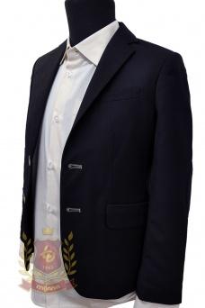 Пиджак с заплатками синий