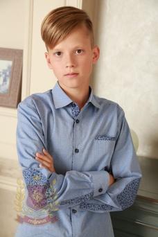 Рубашка голубая с заплатками на локтях
