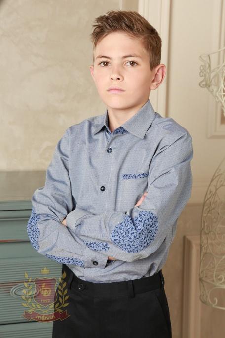 Рубашка серая с заплатками на локтях