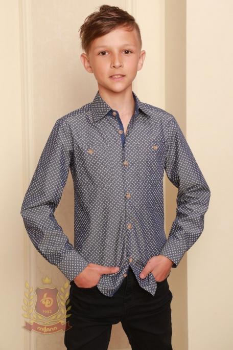 Рубашка синяя приталенная