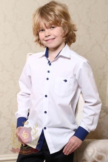 Рубашка белая с синей отделкой