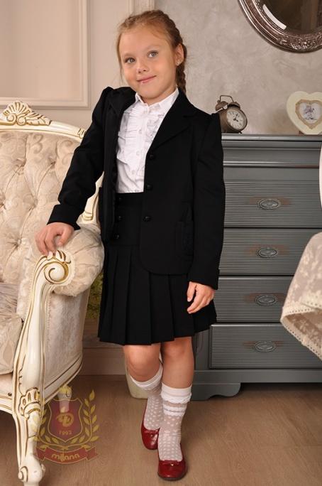 Жакет с вышивкой из полушерстяной ткани черный