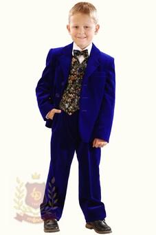Костюм бархатный с жилетом синий